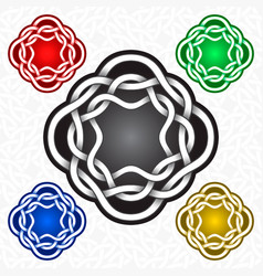 Octagonal logo template in celtic knots style vector