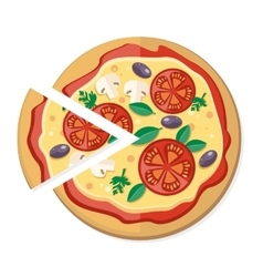 Pizza with tomatoes olives mushrooms and herbs vector