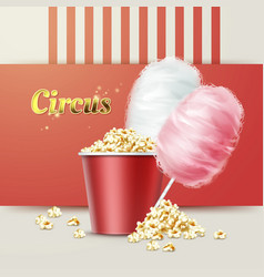 popcorn with cotton candy vector image