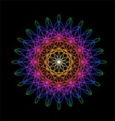 Rainbow flower in spirograph style on black vector