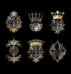 Royal symbols lily flowers floral and crowns vector