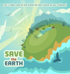 Save the earth virgin nature landscape vector