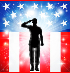 Us flag military soldier silhouette saluting vector