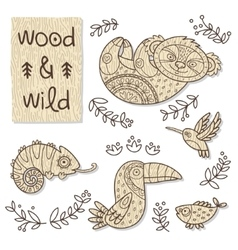 Wood animal figures Eco friendly toys vector image vector image