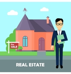 Real estate broker at work building for sale vector