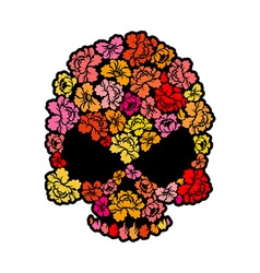 Skull with roses petals of flowers skeleton head vector