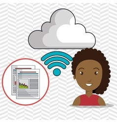 Woman cloud wifi icons vector