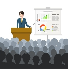 Businessman holds a lecture to an audience with vector