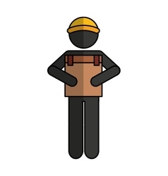 Worker silhouette lifting box vector