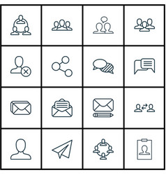 set of 16 social icons includes web profile vector image