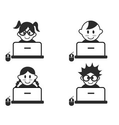 Kids head with notebook icons vector