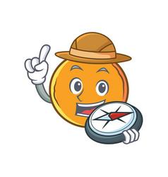 Explorer orange fruit cartoon character vector