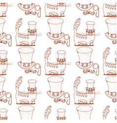 Seamless pattern with cat and a high hat monocle vector