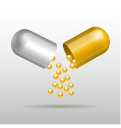 Opening gold medical capsule vector image