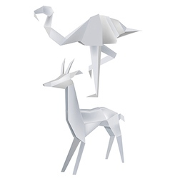 Origami flamingo roe vector