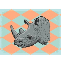 Vintage grunge background with rhinoceros vector