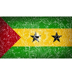 Flags sao tome principe with broken glass texture vector
