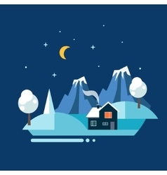 Winter village landscape vector