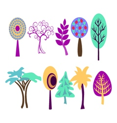 tree set collection of various trees vector image