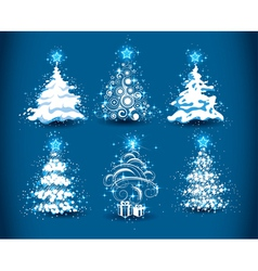 Snowy christmas trees vector