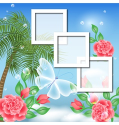Tropical Floral Frame Background vector image