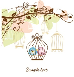 Birds in a cage vector