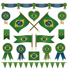 brazil flag ornaments vector image
