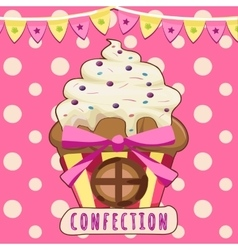 Cake-house on a pink background vector