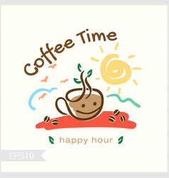 Coffee in morning time for badge label identity vector