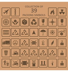 Collection of packing simbols on backgrownd vector