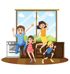 Family happy at home vector image