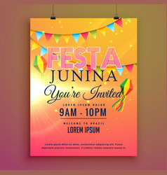 festa junina party invitation flyer design vector image vector image