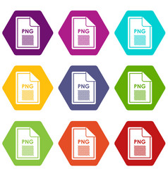 File png icon set color hexahedron vector
