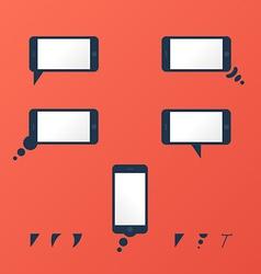 Gadget smartphone empty speech bubbles red vector image