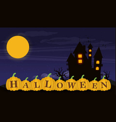 Halloween background with pumpkins for banner vector
