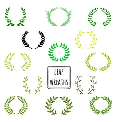 Hand drawn decorative floral set of 13 wreaths vector