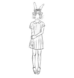 Hand drawn fashion of dressed up bunny hipster vector