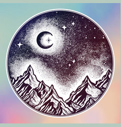 Hand drawn nature night sky mountains landscape vector