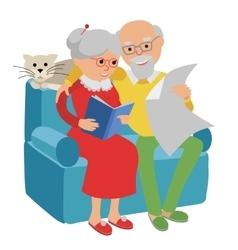 Happy senior man woman family sitting on the sofa vector