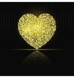 Heart on black background Gold glitter vector image vector image