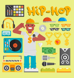 hip hop man musician with microphone vector image