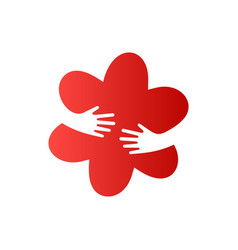 human hands embracing red flower creative vector image