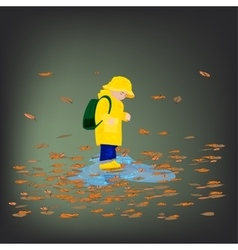 Kid in raincoats and rubber boots in the rain vector