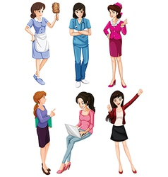 Ladies with different professions vector