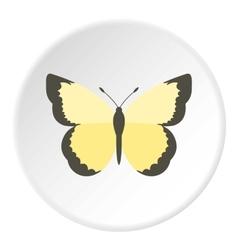 Light yellow butterfly icon flat style vector