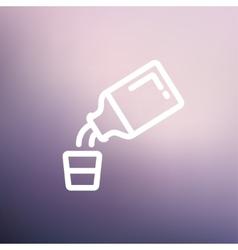 Medicine and measuring cup thin line icon vector