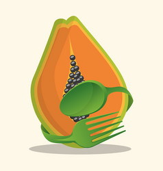 Papaya vegan food fresh vector