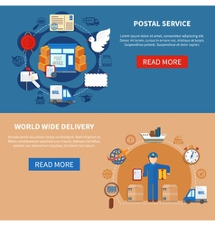 Postal service flat style banners vector