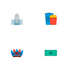Set of america icons flat style symbols with vector