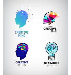 set of creative mind brainstorm brain vector image vector image